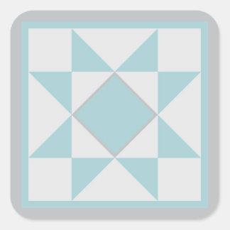 キルトのステッカー-星(青か灰色) スクエアシール