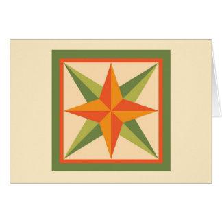 キルトのメッセージカード-斜めの星(緑) カード