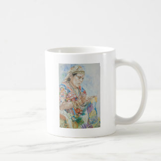 キルトの刺繍 コーヒーマグカップ
