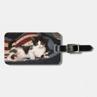キルトの荷物のラベルの愛国心が強い子ネコ ラゲッジタグ
