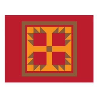 キルトの郵便はがき-くま足のブロック(金ゴールド、赤、茶色) ポストカード
