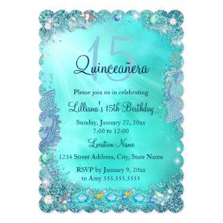 キンセアニェラのティール(緑がかった色)の青い海の宝石の誕生会 12.7 X 17.8 インビテーションカード