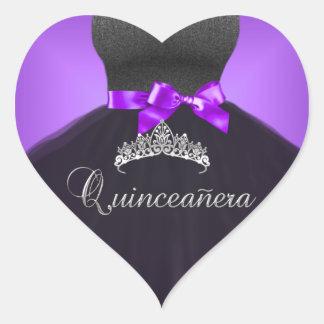 キンセアニェラの第15ステッカーのハートの紫色のティアラの服 ハートシール