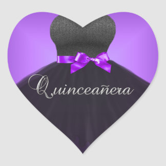 キンセアニェラの第15ステッカーのハートの紫色の黒い服 ハートシール