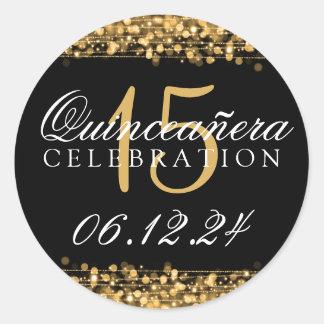 キンセアニェラの第15誕生会の輝きの金ゴールド ラウンドシール
