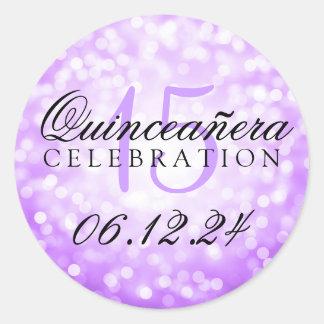 キンセアニェラの第15誕生日の紫色の《写真》ぼけ味ライト ラウンドシール