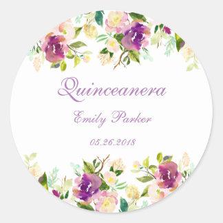 キンセアニェラの紫色のエレガントな花のステッカー ラウンドシール