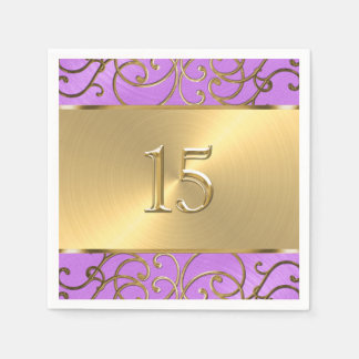 キンセアニェラの蘭の紫色および金ゴールドの線条細工の渦巻 スタンダードカクテルナプキン