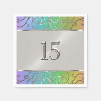 キンセアニェラの虹および銀製の線条細工の渦巻 スタンダードカクテルナプキン