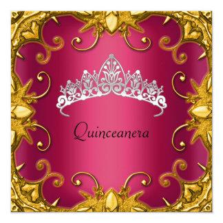 キンセアニェラの誕生会の赤い金ゴールドの白のティアラ カード