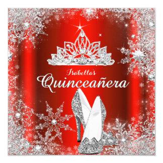 キンセアニェラの豪奢で赤い銀製のティアラの第15誕生日 カード