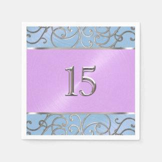 キンセアニェラの青い紫色の銀製の線条細工の渦巻 スタンダードカクテルナプキン