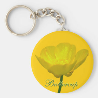 キンボウゲのキーホルダーの黄色い野生の花のギフト ベーシック丸型缶キーホルダー
