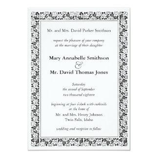 キンボウゲのボーダー結婚式招待状 カード