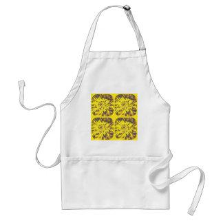 キンボウゲの黄色いコラージュのダリアの花模様 スタンダードエプロン