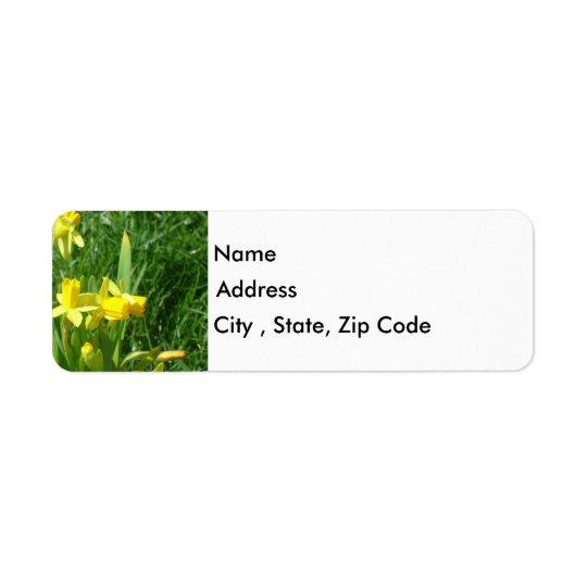 キンボウゲの黄色いラッパスイセンの差出人住所ラベル 返信用宛名ラベル