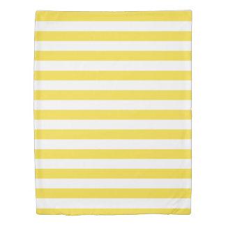 キンボウゲの黄色及び白いストライプの 掛け布団カバー