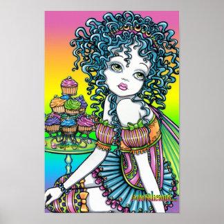 """""""キンボウゲ""""のロマンチックなコップのケーキの妖精の芸術ポスター ポスター"""