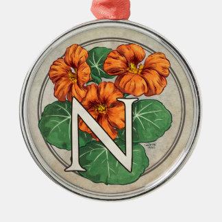 キンレンカの花のモノグラムのためのN メタルオーナメント