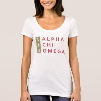 キーのオメガのアルファ|積み重ねられたロゴ Tシャツ