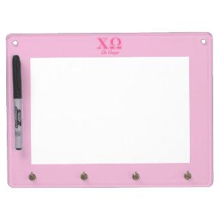キーのオメガのピンクの手紙 キーホルダーフック付きホワイトボード