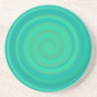 キーウィのティール(緑がかった色)のレトロキャンデーの渦巻 コースター