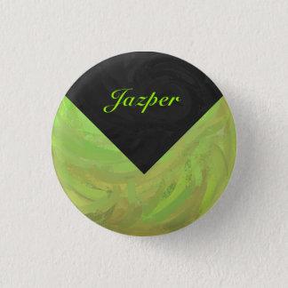 キーウィの強打の緑および黒いモノグラム 缶バッジ