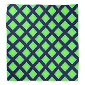 キーウィの緑および濃紺の格子縞パターン バンダナ
