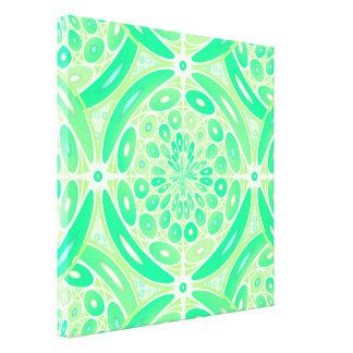 キーウィの緑の幾何学的 キャンバスプリント