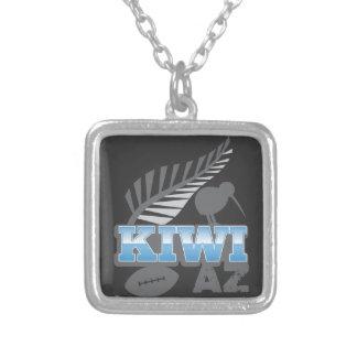 キーウィAZのラグビーの鳥および銀製シダニュージーランド シルバープレートネックレス