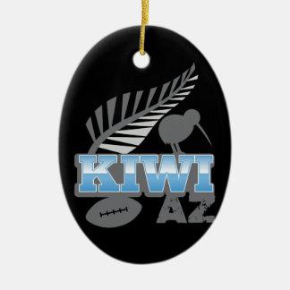キーウィAZのラグビーの鳥および銀製シダニュージーランド セラミックオーナメント