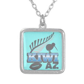 キーウィAZのラグビーの鳥および銀製シダ シルバープレートネックレス