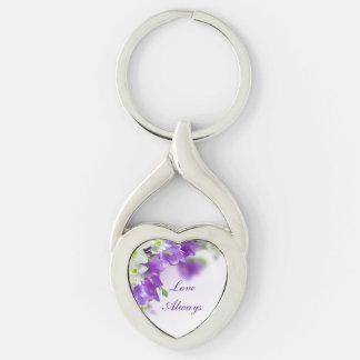 キーホルダー--紫色の花縦 キーホルダー