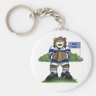 キーホルダー-青の男性のラグビーくま キーホルダー
