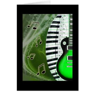 キーボードが付いている緑のエレキギター カード