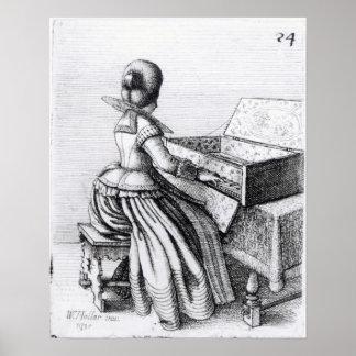 キーボードで遊んでいる女性1635年 ポスター