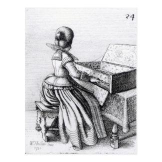 キーボードで遊んでいる女性1635年 ポストカード