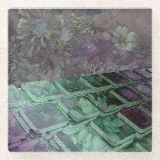 キーボードのコースターのグラフィックは花と設計しました ガラスコースター