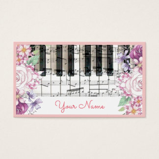 キーボードのピアノ音楽花の装飾のヴィンテージ 名刺