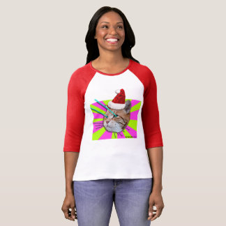 キーボード猫のサンタの帽子の女性ワイシャツ Tシャツ