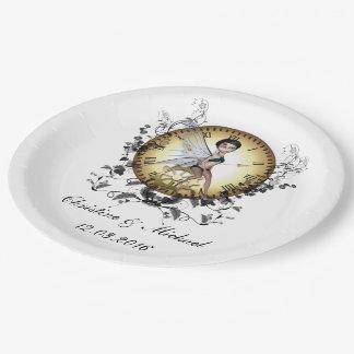 ギアが付いている時計のかわいく小さいsteampunkの妖精 ペーパープレート