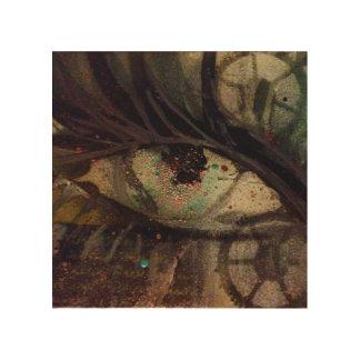 ギアが付いている落書きの目 ウッドウォールアート