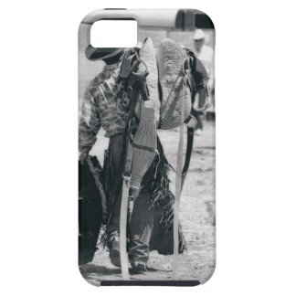ギアを強く引くカウボーイの背面図 iPhone SE/5/5s ケース