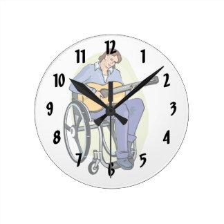ギタリストの車椅子graphic.png ラウンド壁時計