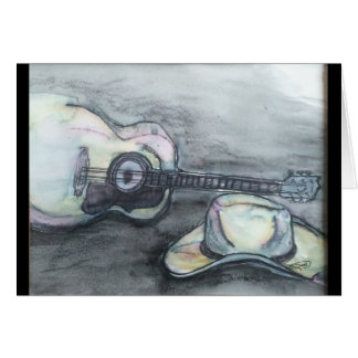 ギターおよびカーボーイ・ハット カード