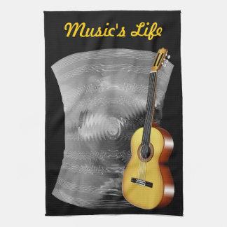 ギターおよび音楽シート キッチンタオル