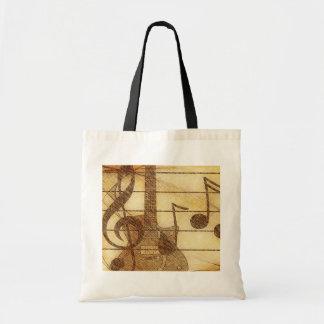 ギターおよび音楽トートバック トートバッグ