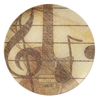 ギターおよびCleffの三重のプレート プレート