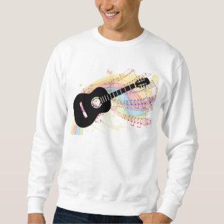 ギターが付いている基本的な黒いスエットシャツ スウェットシャツ
