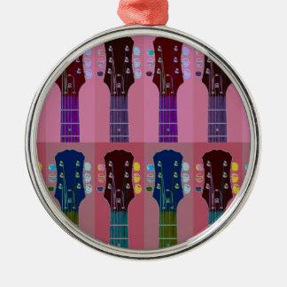 ギターのヘッドストックのポップアート メタルオーナメント